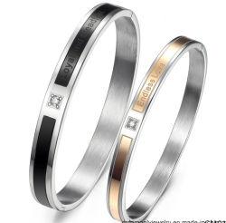 L'Ebay de gros de l'amour éternel Double Ring Titanium Bracelet en acier