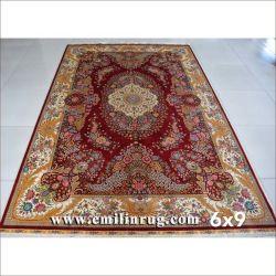 De rode BloemenZijde In traditionele stijl van de Dekens van de Korting Met de hand gemaakte Perzische Oosterse voor Verkoop