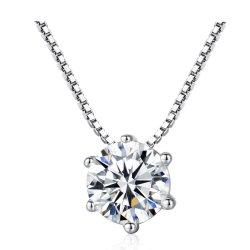 Conception classique de nouveaux produits effervescents Cz Diamond 925 Sterling Silver Necklace