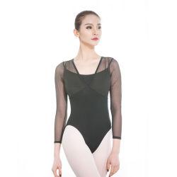 Dames Ballet Leotard Ballerina Mesh Leotard Long Sleeve Gymnastiek Leotard Adult Dance Wear zwempak voor Dansen