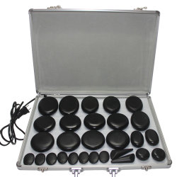 Masaje con piedras calientes con 28 piezas con piedras calientes de Basalto con calentador Kit para Professional o Home SPA