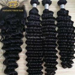 卸売100%の工場価格の加工されていないブラジルかインドのバージンまたはRemyの人間の毛髪の拡張