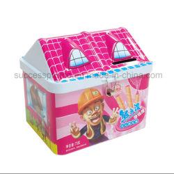 Forma de la casa de estaño metálico caja para regalo de Navidad