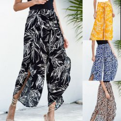 Playa de la moda Slanna Hobo elástico cintura alta impresas florales Chiffon Causal pantalones