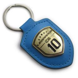 Firmenzeichen-kundenspezifische Auto-Andenken reales Leather&Metal Schlüsselring graviertes Keychain