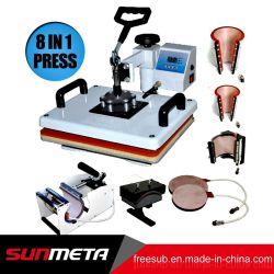 8 in 1 stampatrice combinata di trasferimento della pressa di calore di sublimazione della maglietta da vendere