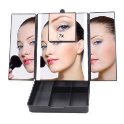 Поездки косметические зеркала в противосолнечном козырьке поверхности стола системы хранения данных с помощью наружного зеркала заднего вида макияж светодиодный индикатор