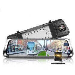 10 polegadas de tela Pressione IPS integrados Universal Car Dash Cam Vista traseira do espelho de marcha lente dupla de alta definição total 1080P