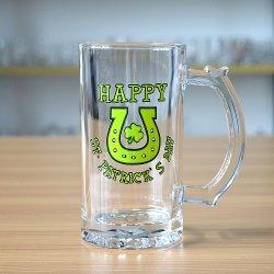 500ml de bière en verre de l'autocollant vert durable Mug avec Unique pétale bas