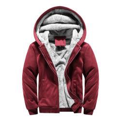De in het groot Mensen van de Sweatshirts van Hoodies van de Winter van de Verbindingsdraad van de Kleur van het Pit van het Embleem van de Douane omhoog Zwarte Twee Dikke