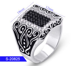 Groothandel New Design Fashion Silver Jewelry Kubieke Zirconia Stone Ring For Man