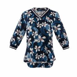 Conception personnalisée Flowe en mousseline de l'impression encolure en V à la mi-T-Shirt pour dames
