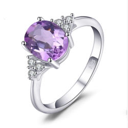 Оптовая торговля 925 серебристые украшения созданы Аметист драгоценных камней, ювелирных изделий кольца