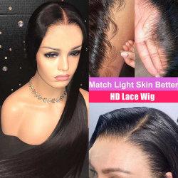Обманное движение по прямой на голове волос человека парики Preplucked невидимый прозрачный HD 13X6 кружева фронтальной парики