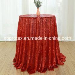 호텔, 결혼식, 연회를 위한 세쿼인 자수가 있는 아름다운 테이블 천