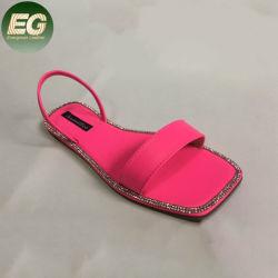 Sys013女性の平らなサンダルはつま先の夏浜の服のサンダルの双安定回路の偶然靴の水晶ダイヤモンドのBlingのスリッパを開く