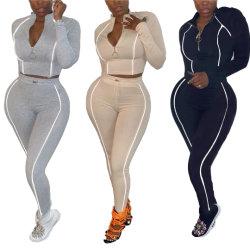 落下秋の反射ストリップのBodyconの普及した女性2020は最も遅くセクシーな衣類が2二つの部分から成ったセットのファスナーを締めるトラックスーツの女性を設計する