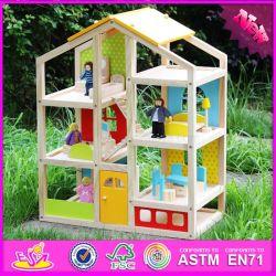 2016 оптовой деревянные детский дом кукла, DIY деревянные детский дом кукла, самые популярные деревянные детский дом кукла W06A155