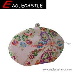 Boîte de damassé soir Sac avec chaîne en métal de l'épaule amovible Strape, les femmes de style chinois classique vent,style antique à la mode fleur Couleur Broderie sac d'embrayage
