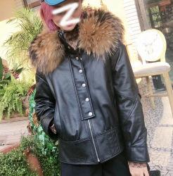 Новые моды овечьей кожи куртки с мех Raccoon втулку падения зимой повседневной жизни Outwear