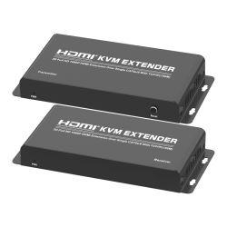 Extensor KVM HDMI 150m sobre el mismo Cat5e/6 admite TCP/IP (Full HD 1080P) , a 150 metros de KVM HDMI Extender con la salida de audio individuales