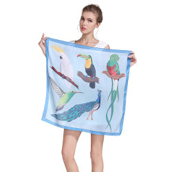 Atacado Luxo Moda personalizada impressa 100% Pure Silk Square Satin Cachecol Bandana Hijab Scarf Shawls