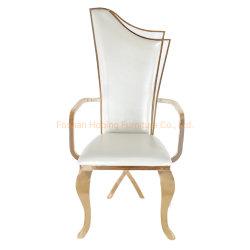 現代ホワイトメタルのArmrestのホテルのホール大きいChiavariの宴会の結婚式の椅子の金の鋼鉄は居間のダイニングテーブルの椅子を描く