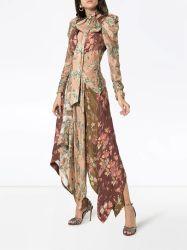 Moda Mujer desenfrenada Chevron 100% seda vestidos florales de impresión