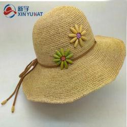 Женщин моды Широкие края Raffia Red Hat соломы