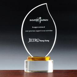 Premio Trofeo de cristal grabado láser personalizado con logo personalizado