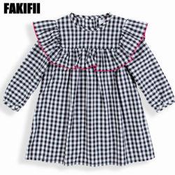 100% algodão crianças Vestuário Vestuário para bebé Plaid vestir roupas de inverno Menina