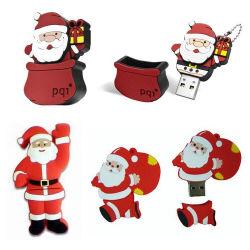 休日の整形クリスマスのギフトの習慣PVCサンタクロースUSBのディスク