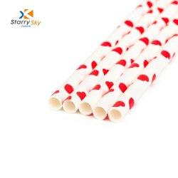 Красный полоску бумаги трубочки питьевой соломы