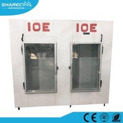 이중 유리문이 있는 냉장 얼음 저장통