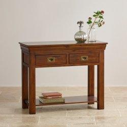 無作法な型のカシの純木のコンソールテーブル