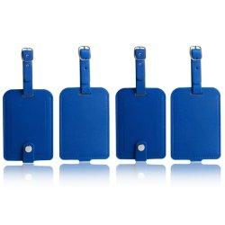Gepäck-Beutel-Marken-Leder-Arbeitsweg Identifikation beschriftet Koffer Namensmarken mit Verschluss PU-Blau