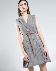 女性袖なしの服のオフィスの服の女性の灰色の格子縞のフォーマルドレス
