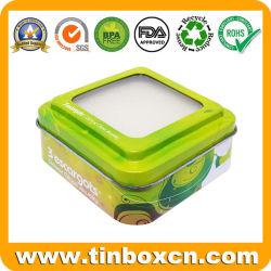 Quadratisches Metallkosmetik-Uhr-Schmucksache-Geschenk-verpackenkasten Belüftung-freies Fenster-Zinn mit Schwamm-Einlagen