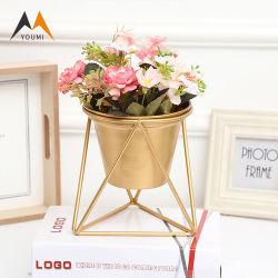 Proveedor de la flor de la fábrica de lujo en soporte de mesa macetas de flores de metal