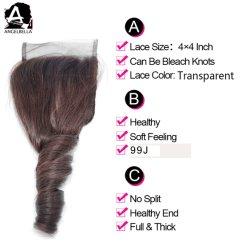 Angelbella novos estilos de onda da Primavera brasileira de cabelo humano e vinho Escuro Lace Encerramento