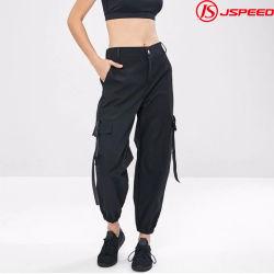 도매 헐렁한 포켓 블랙 우븐 천 지퍼 팬츠 여성용 스페셜 디자인 팬츠