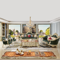 Sofá fábrica de muebles de madera tallada mayorista sofá de cuero en color opcional