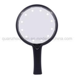 LED ajustável OEM de mão de puxador de plástico espelho espelho de maquilhagem