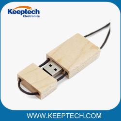 Рекламные деревянные бамбуковые флэш-накопитель USB 16 ГБ 32ГБ 64ГБ с помощью строп предохранительного пояса