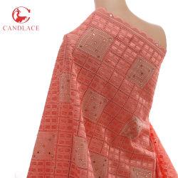 La tela de algodón suave del surtidor del color de rosa chino del melocotón para el algodón empiedra el cordón de la boda