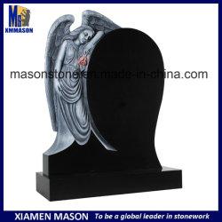 旧式な泣く天使の絶対黒い花こう岩の墓碑の卸売