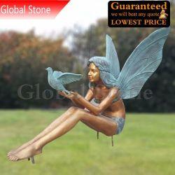 Embarcaciones de metal de bronce fundido figura estatua Angel Fairy escultura para la decoración de jardín (GSBR-109)
