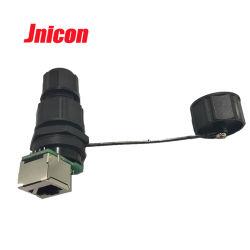 Jnicon 180 graus de montagem dianteira do painel do sexo feminino e o plugue macho RJ45 conector impermeável