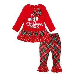 De Meisjes van Kerstmis van de Plaid van de manier Geplaatst de Brief van Kinderen de Lange Broek van de Bovenkant + van de Gloed van de Koker Geplaatst Kerstmis Tweedelige Reeks