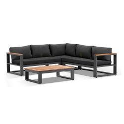 El bastidor de aluminio esquina Jardín Salón sofá con mesa de madera de teca